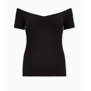 TORRID BLACK RIB OFF SHOULDER TOP